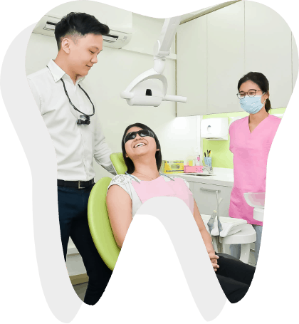 a dentist talking to a patient